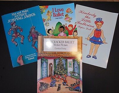 Lot of 4 Books Coloring Paper Doll  Sticker Book Picture Antique Jumping Jacks