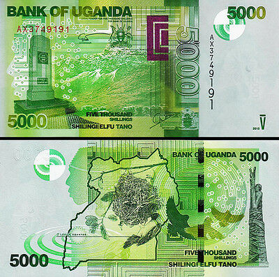 Uganda 5000 5,000 Shillings 2013 Unc 5 Pcs Consecutive Lot P 51C
