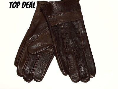 Mens 100% Leather Gloves Fleece Lined.Brown.Top Deal!!