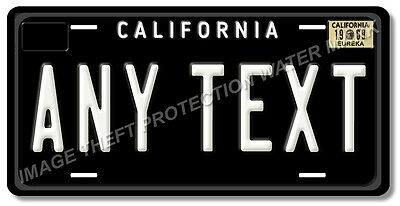 Black California ANY TEXT WHITE Personalized Text License Plate Tag Gift Dad Mom