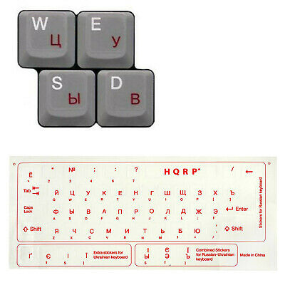 Russian Ukrainian Transparent Keyboard Stickers for All PC Red Letters (1 or 2x)