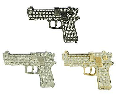 Large Gun with Rhinestones Black Silver Gold Color Iced Out Hip Hop Belt Buckle