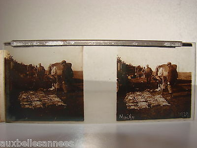 ANCIENNE PLAQUE PHOTO VERRE STEREOSCOPIQUE x 2 MAILLY CAMP 1929 JOURNEE CHASSE