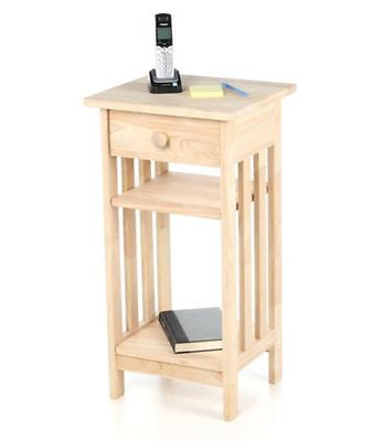 Unfinished Wood Telephone Table Home Decor Living Room Plant Stand Furniture New