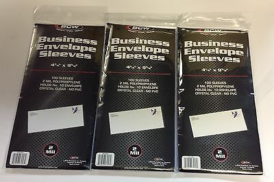 300 BCW Business Envelope #10 Sleeves Archival 2-Mil Soft Poly Acid Free-Fresh #