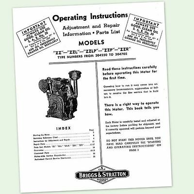 Briggs And Stratton Zz Zzl Engine Owners Operators Repair Service Parts Manual &