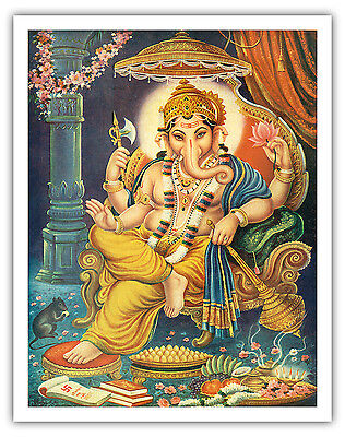 Ganesha India Hindu Lord Ganes Vintage World Travel Art Poster Print Giclée