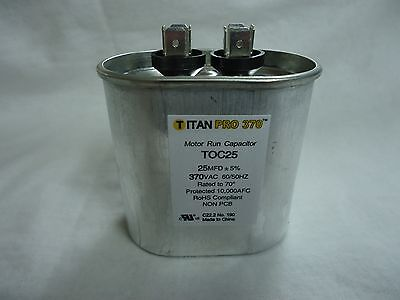Mars Replacement Titan Hd Run Capacitor 25 Mfd 370V Oval 12915 By Titan