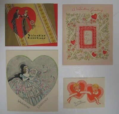 Vintage 40's Lot 4 Valentine's Day Cards Fold Over Golden Bell Embossed Diecut