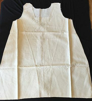Antique Vintage Hand Embroidered Nightgown Italian Hand Woven Flax Linen Nighty