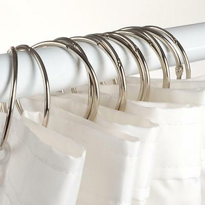 12Pcs Chrome Plated Round Ball Bead Easy Glide Shower Metal Curtain Rings Hooks