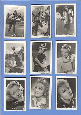 Collection of 9 0riginal vintage 1930's ROSS tobacco photo cards MADY RAHL