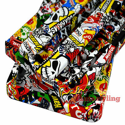 2x Sticker bomb HYDROGRAPHIC car number plate licence holder frame surround