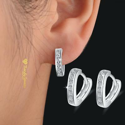 Women's Crystal Rhinestone 925 Sterling Silver Pltd Hoop Huggie Heart Earrings