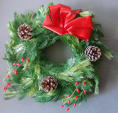 "12"" vintage plastic poly Christmas wreath with pine cones green"