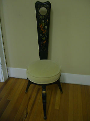 Vintage Hitchcock Black Harvest Hand Paint Milking Stool w/ stencilled back rest