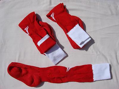 NWOT Girl's Boy's Sports Ball Socks Cuff Down 3 Pair Size 8-9.5 Red/White #25