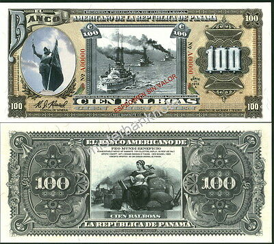 "New Panama Large Size ""series Of 1918A"" 100 Balboa Fantasy Art Note By Reed Bnc!"