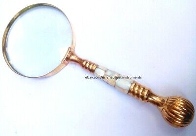 New Antique Vintage Style Brass & Mother Of Pearl Magnifying Glass Magnifier