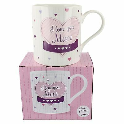 Lp33459 Lesser And Pavey I Love You Mum Fine China Hearts Decorated Gift Mug