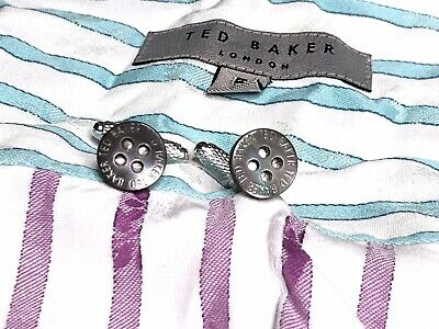 New Mens Ted Baker Mother Of Pearl Grey Button Silver Plated Cufflinks + Pouch