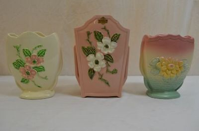 Hull Rosella Wild Rose Vase Set Three Piece Lot Pottery 900-4-42