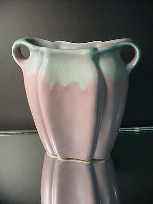 Scarce Muncie Art Pottery Handled Lilac Turquoise Pillow Vase Arts & Crafts 1925