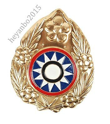 WW2 China KMT Kuomingtang Army Type 46 Field Cap Insignia metal Badge Color Gold