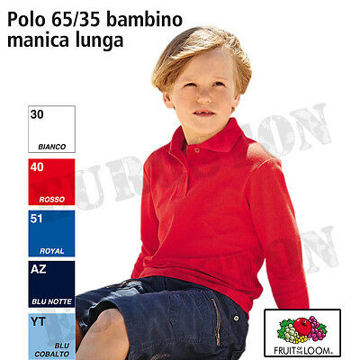 Polo bambino manica lunga Chiusura a due bottoni in tinta fruit of the loom