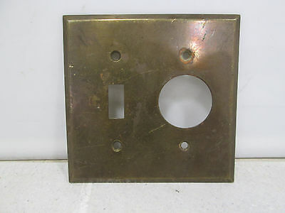Vintage Brass Toggle & Circular Receptacle Light Switch Cover Plate #HE8