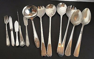 Mixed Lot Of 12  Silverplate Flatware  For Craft Or Replacement