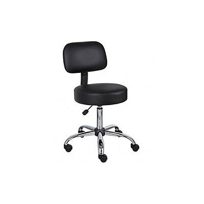 Black Medical Stool Doctor Dentist Lab Salon Tattoo Office Rolling Chair Back