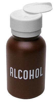 MENDA Lasting-Touch Round Brown Plastic Dispenser Bottle 8 oz Pump ALCOHOL USA
