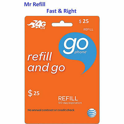 AT&T Go Phone $25 Refill, applied to phone directly