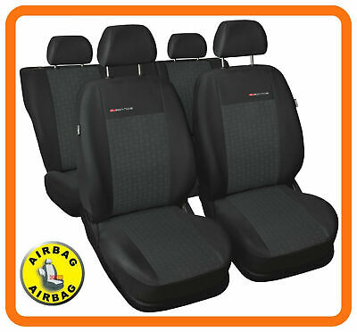 Universal CAR SEAT COVERS full set fits VW Polo charcoal grey PATTERN 4