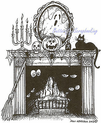 Haunted House Halloween Wood Mounted Rubber Stamp NORTHWOODS Stamp P3762 New