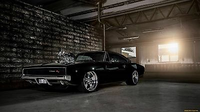 "1968 Dodge Charger Hot Rod Muscle Car Mini Poster 24"" x 16"""