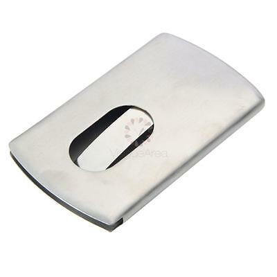 Pocket Card Holder Stainless Steel Modern Thumb Slide Out Business Credit Case