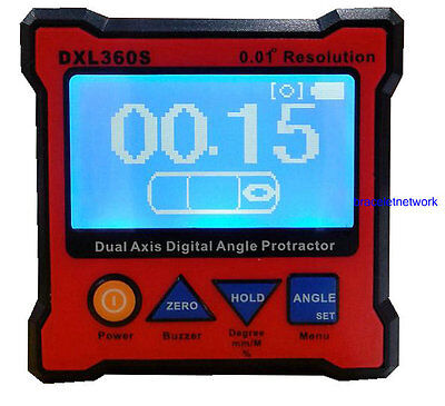 DXL360S Dual Axis Digital Angel Protractor 0.01° Resolution Rechargeable