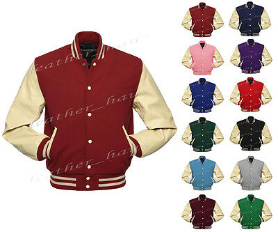 Superb Genuine Leather Sleeve Letterman College Varsity Wool Jacket GYS-GYS-GYB1