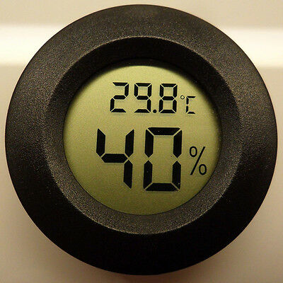 Roundish Mini Digital Cigar Humidor Hygrometer Thermometer Round Face QT