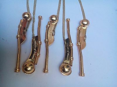 Lot Of 5 Nautical Antique Brass Boatswain's Pipe Bosun Whistle Key Chain