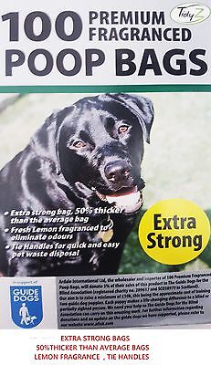100 PREMIUM FRAGRANCED EXTRA STRONG  BLACK Doggy Poo Poop  Bags