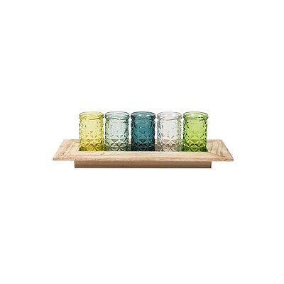 MIXED Green Teal Bottles Wooden Display Tray GLASS Mini Tea Light Candle Holders