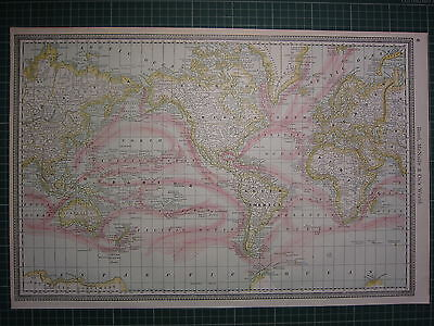 1890 Large Antique Map ~ The World Showing Ocean Currents ~ Rand Mcnally