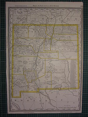 1890 Large Map New Mexico State County Railroad Excellent Condition Rand Mcnally