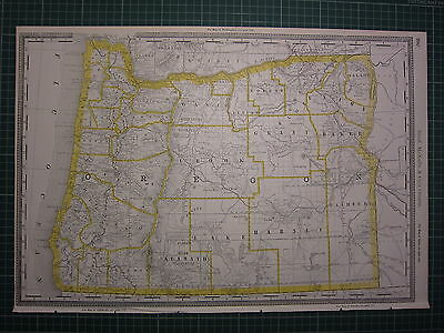 1890 Large Map Oregon State County Railroad ~ Excellent Condition Rand Mcnally