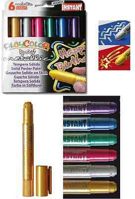 Paint Sticks 6pc Set METALLIC Colors Playcolor Kids Coloring Posters Painting