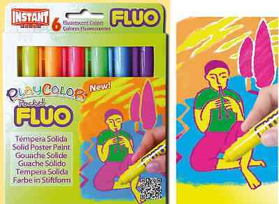 Paint Sticks Pens 6pc Set FLUORESCENT Colors Playcolor Kids Coloring Posters