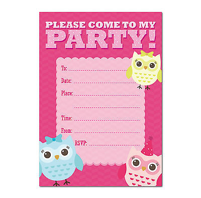 Pack Of 16 A6 Girls / Kids Birthday Invite Party Invitations With Fun Owl Invite